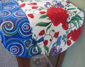 """Red and Blue Floral Table Runner 36"""" Reversible Red Rose Table Runner Blue and Red Mosaic Table Runner Red Table Decor Blue Kitchen Decor"""