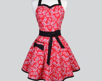 Sweetheart Retro Woman Apron - Cute and Flirty Red and Black Butterflies Womens Full Vintage Style Full Pin Up Aprons