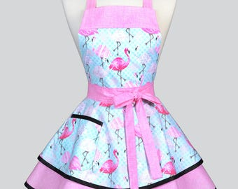 Ruffled Retro Pinup Apron / Pink Flamingos on Aqua Dots Cute Womens Whimsical Vintage Style Kitchen Apron to Monogram or Personalize