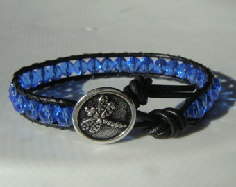 Dragonfly Bracelet Blue Beaded Leather Bracelet