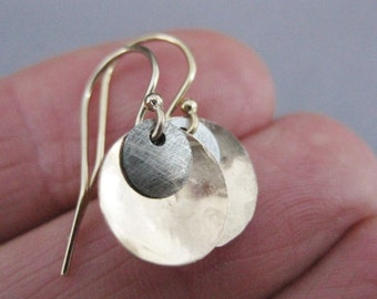 Small Gold and Silver Earrings, Textured Gold filled and Sterling silver Discs with GF earring hooks, simple, dressy and casual