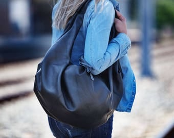 SALE Black leather bag, large hobo bag shoulder purse soft leather bag hobo carryall bag weekend sling - Kallia bag