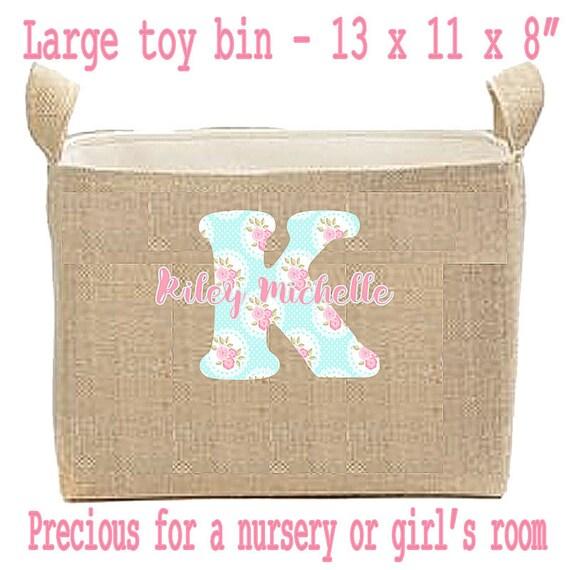 Nursery Decor, Nursery Storage Bins, Personalized Decor for Baby, Large Toy Bin, Nursery Organization Bin, Burlap Home Decor, New Baby
