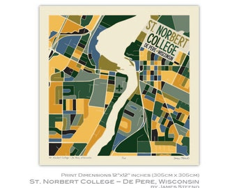St. Norbert College - De Pere, Wisconsin Campus Art Map Print by James Steeno