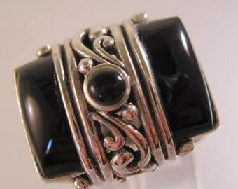 SALE ON Ends 4/30 Vintage Edwardian Style Onyx & Sterling Silver Ring Size 8 Antique Jewelry Jewellery