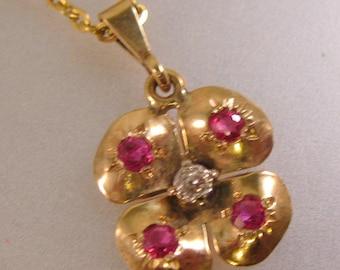 "Antique Estate 10k Rose Gold Ruby & Rose Cut Diamond Clover Flower Pendant with 20"" 9k Gold Chain"