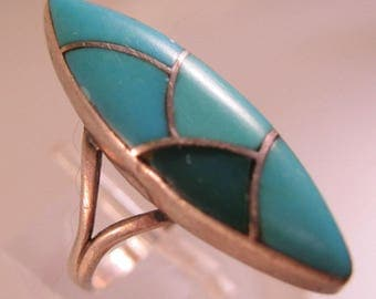 Zuni Turquoise Inlaid Sterling Silver Ring Size 5 Vintage Native American Jewelry Jewellery