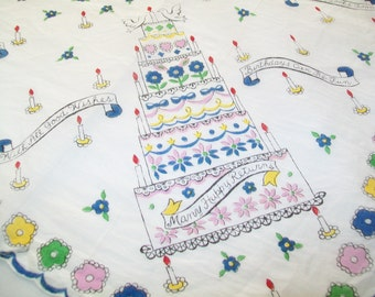 Vintage Birthday Hankie, handkerchief, Happy Birthday, gift