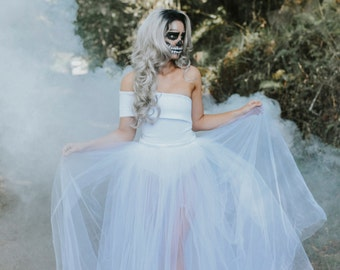 Skeleton Bride White Sheer Tulle Maxi Skirt