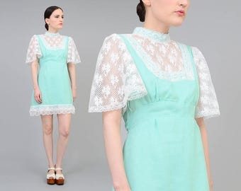 Vintage 70s Mint Green Babydoll Dress | White Lace Sheer Bib Neckline | Dolly Dress | Boho Mod Mini Dress | Small Medium S M