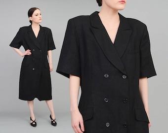 Vintage Black Blazer Dress   90s Minimalist Dress   Double Breasted Linen Dress   Short Sleeve Tailored Sheath Dress   Large L