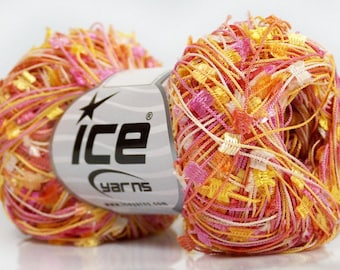 Pink Gold White Mini Butterfly #41749 Ice Tiny Flag Ribbon Yarn 50gr 164 Yards Perfect for Fiber Necklaces, Shawls, Scarves &More