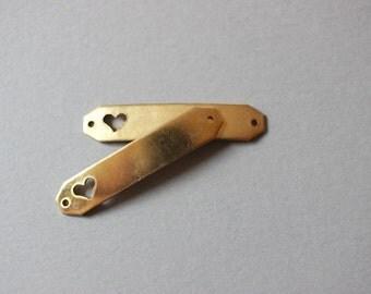 Brass Heart ID Blank Connectors