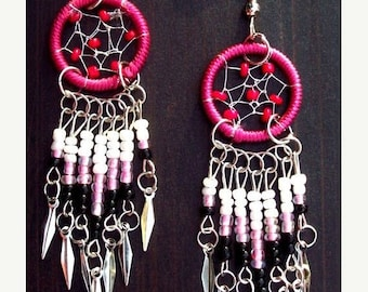 EPIC SALE Dream catcher earrings beaded in pink, red, black, white, and silver, dreamcatcher earrings silver pink