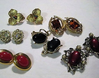 Earring Lot for Crafts, Clip and Screw Earrings,Jewelry for Hobbies, Vintage Earrings, Jewelry for Wedding Bouquets, Jewelry for Repurposing