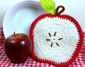 Crochet Apple Potholder, Double Thick Trivet, Apple Kitchen Decor, Cotton Fruit Potholder, Apple Hot Pad, Housewarming Gift, Teacher Gift