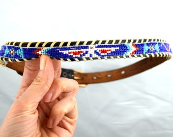 Vintage Leather Seed Bead Thunderbird Native American Southwest Belt - KIDS SIZE 24