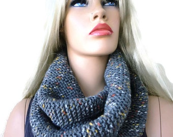Medium Gray winter infinity scarf- Speckled gray HARASHO men scarf-Hand knitted simplicity cowl, Unisex Warm winter scarf-