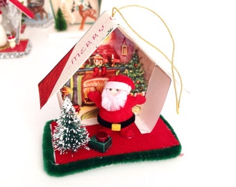 Putz House Christmas Ornament | Happy Santa