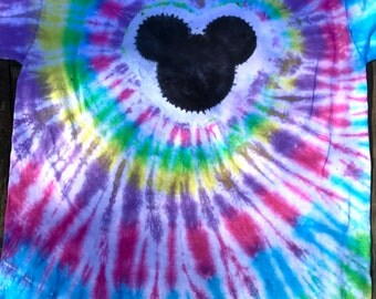 Easter, Spring colors-ADULT sizes, PLUS sizes, Tie Dye T shirts- Mouse, bear, spirals.