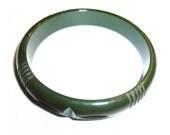 """Vintage Bakelite Bangle Carved Dark Green Bracelet. 1/2"""" Wide. Tested & Guaranteed. 1940s USA."""