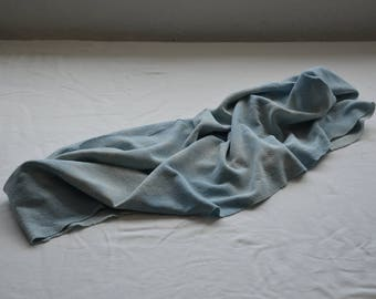 Silk scarf hand dyed blue white fashion natural stretch loop infinity head scarves hair wrap eco friendly clothing boho bohemian minimalist