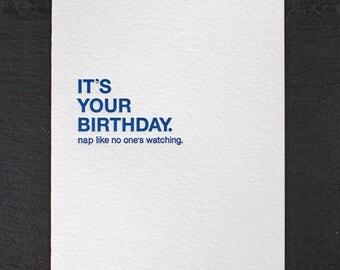 birthday nap. letterpress card. #010