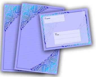Printable Stationery Digital Download - Celtic Birds in BLUE Stationery and Envelope Set