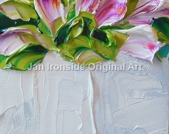 Oil painting, Painting, Magenta and White Tulips, Original Painting