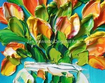 Oil Painting Impasto  oil Art  canvas Tulips