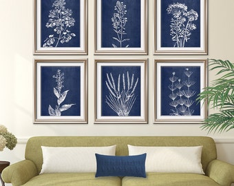 Wild Field Flowers (Series B7) Set of 6 - Art Prints (Featured in China Blue Silk) Botanical Flower Art Prints