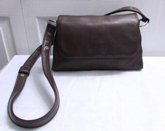 Vintage Liz Claiborne Dark Brown Thick and Soft Genuine Leather Cross Body Bag, Hand Free Bag, Messenger Bag, Sling Bag, Shoulder Purse