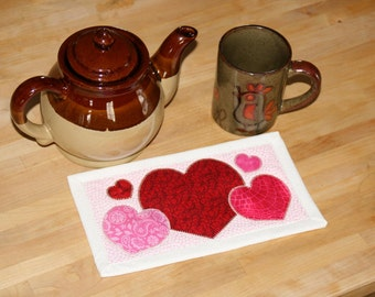 Cup-o-Love Mug Rug - PDF Pattern quilt applique