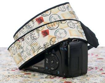 Vintage Postage, dSLR Camera Strap, Stamps, Pocket, Camera Neck Strap, for Nikon or Canon Camera, SLR, 088
