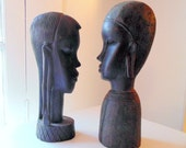 African Head Wood Carving Set of 2 Man and Woman, Africa, Tribal Art, Wood, Vintage hand carved wood bust, Abstract tribal style, sculpture