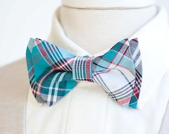 Bow Tie, Mens Bow Tie, Bowtie, Bowties, Bow Ties, Groomsmen Bow Ties, Wedding Bowties, Christmas Bow Tie, Ties - Navy, Blue, Red Plaid