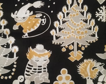 Moomin fabric Christmas Moomin black cotton fabric xmas tree tooticky tillukka moomins
