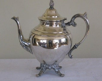 Wm Rogers Silverplate Coffee Tea Pot, Vintage Silver Plate Eagle Crest Symbol