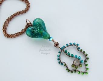 Green heart pendant, lampwork heart necklace, copper heart necklace, wirework leaf necklace, teal heart necklace, sparkly heart pendant