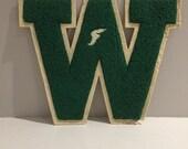 Vintage varsity letter W letterman jacket track and field sports monogram