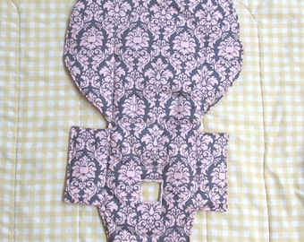 Evenflo padded high chair cover, highchair replacement pad, baby chair accessory, baby furniture, kids feeding chair, damask, pink on gray