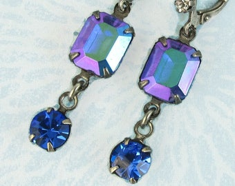 Blue Earrings Iridescent Sapphire Blue Vintage Glass with Rhinestone Earwire