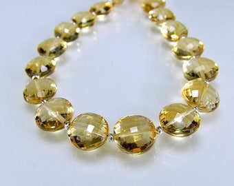 AAA Citrine Coin Briolettes Micro Faceted Citrine Beads