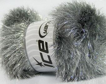 ICE YARNS eyelash dazzle silver grey metallic lurex 1 skein 100gr polyester  novelty fancy bulky shimmering knitting crochhet supplies 42255