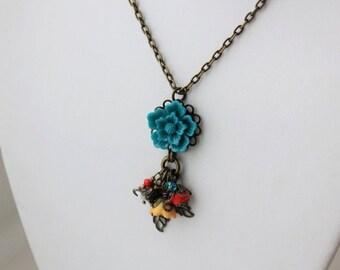 40% OFF SALE Teal Sakura Flower Charm Necklace