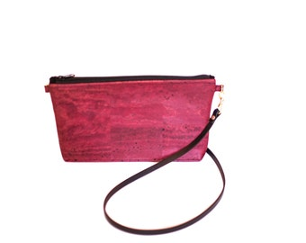 FREE domestic shipping - Burgandy Cork Clutch with Leather Shoulder Strap