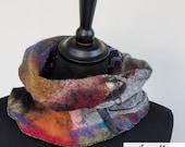 Arty Multicolor Woman Cowl  - Wearable Felt Art Merino Wool Scarves - Autumn Winter Neckwarmer - Oustanding Design - Fashion Statement Paris
