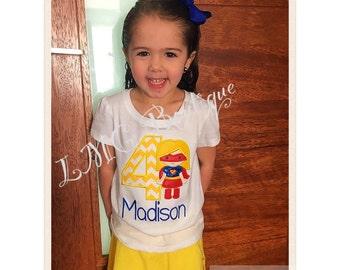 Personalized Superhero shirt - Supergirl Applique Shirt with number- Girls superhero birthday shirt Personalized shirt- Super girl shirt