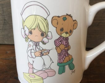 Vintage Nurse Mug, Precious Moments 1990s, Christian Mug, Gift for Nurse, Desk, Nursing, Coffee Tea Mug, Pencil Pen Holder