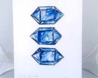Lapis Lazuli Lino Print Geometric Gemstone Art linoprint Unframed A4 Linocut Print 3 Lapis Crystals Watercolor hand Pulled Lino Original Art
